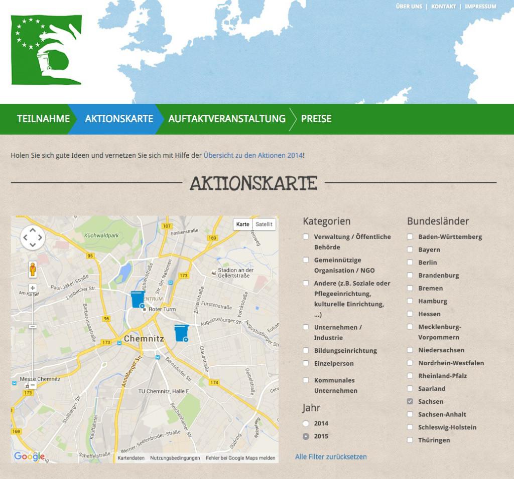 Aktionskarte Europäische Woche der Abfallvermeidung 2015, Kartenausschnitt Chemnitz